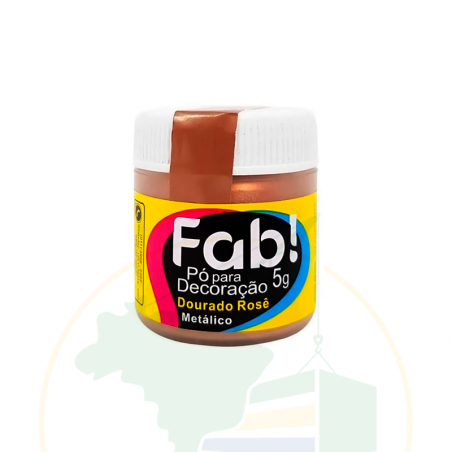 Pó para decoração Dourado Rosê Metálico - FAB! - 3g