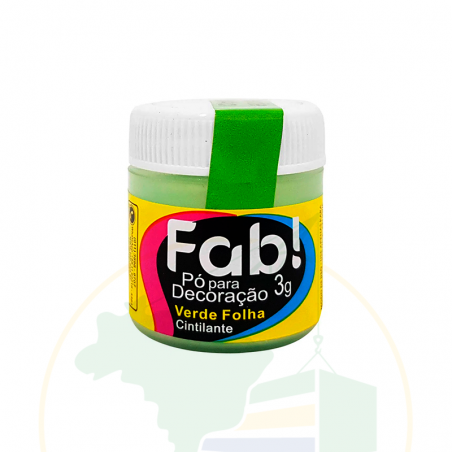 Glitzer -  Pó para decoração Verde Folha Cintilante - FAB! - 3g
