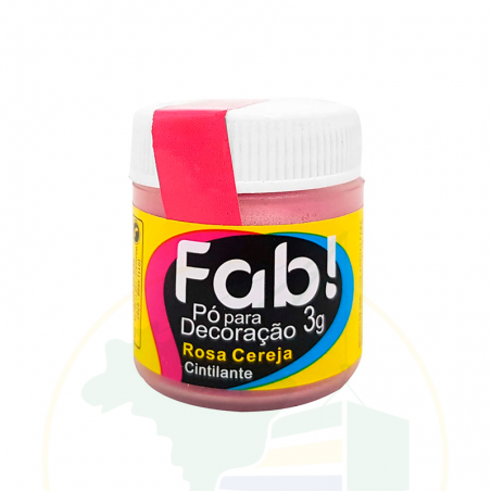 Pó para decoração Rosa Cereja - Cintilante - FAB! - 3g