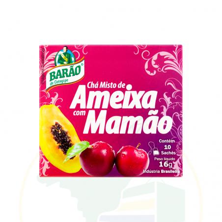 Mate Tee mit Pflaume- und Papayageschmack - Chá de Ameixa com Mamão Barão - 16g