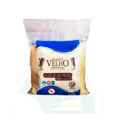 Maismehl-Flocken, GVO-frei - Flocão de Milho para Cuscuz - não transgênico - Vegano - MANO VELHO - 500g