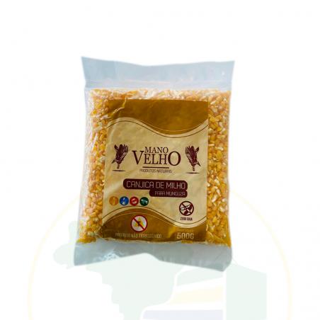 Geschälter, gelber Mais, GVO-frei - Canjica de Milho amarela Mugunzá - não transgênico - Vegano - MANO VELHO 500g