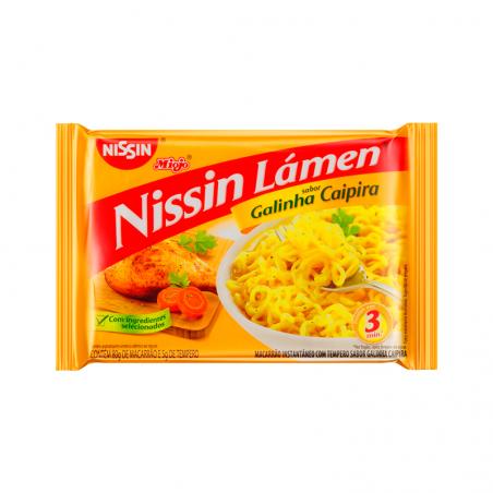 Nudelgericht Instant mit Hähnchengeschmack - Nissin Miojo Lámen - galinha caipira - 85g