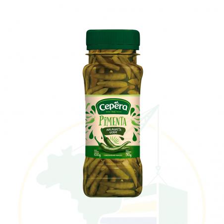 Grüne Malagueta Chilischoten eingelegt - Pimenta Malagueta Verde CEPÊRA 50g