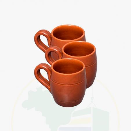 Tasse aus Ton, 3 Stk. - Caneca de Barro Esmaltada Artesanal - 200ml - 3 unidades