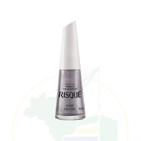 Nagellack - Esmalte Risqué Metálico De Rosé Com A Vida - 8ml